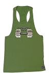 312R Army Green Tank Top With Versa Power Lift Barbell