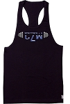 312R black Tank Tops With Versa Blue Barbell Design