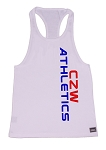 Crazee Wear 312R White Rib Stretch Fitted Tank Tops With Neon Blue Athletics And Red CZW