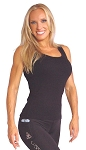 Style 340 Black Stretch Rib Racer back Tank Top