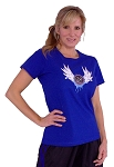 Style 380 Womens Blue Top with V-blue CZW wings Clearance
