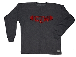 Style 444FT Charcoal Sweat Shirt  Long Sleeve With Versa Red CZW Barbell