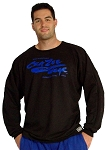 Style 444FT Black Sweat Shirt  Top W/large crazeewear logo in blue