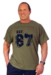 Custom Tee/ Army Green Relaxed Fit Muscle Tee With Est 87
