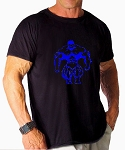 Custom Tee/Black Relaxed Fit Muscle Tee With Neon Blue Huge Muscle Man