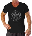 New Style 670V Black, summer cool, light , Fitted V-Neck  With Grey Huge Muscle Man