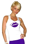 Style 340 White Stretch Rib Racerback Tank Top With Purple Bikini And Lips