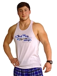 Crazee Wear 312R White Rib Stretch Fitted Tank Top With Versa Liquid Blue Crazee Wear Logo