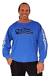 Style 444ft Blue Sweat Shirt W/Large CZW Logo and white flame arm  Top
