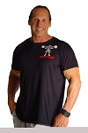 Custom Tee Black W/Squat Muscle Man in white/red Crazee Wear
