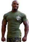Style 400R Stretch Rib Tapered to Waist Muscle Top Army Green With Small White Muscle Man