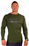 Style 400RL Army Green Stretch Rib Tapered to Waist Malibu Top With Liquid Silver Crazeewear Logo