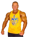 312R  Yellow Tank Top with Neon Blue Huge Muscle Man