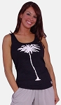 315 Black Tank Top  With White Palm Tree