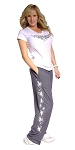 Style 500M  Charcoal Microfiber Baggy Pants With White Splash Design