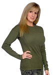 Style 400RL Army Green Stretch Rib Tapered to Waist Malibu Top (Available with or without graphics)
