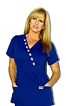 WFT Women's Fitted Blue With Fleur de li Top