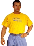 Style 444S Mustard Top with/versa Liquid Silver Crazeewear logo short sleeve