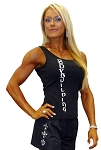 315 Women's Custom Fitted Tank Tops Black W/vertical Bodybuilder in white