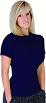 Style 400R Navy Malibu Stretch Rib Tapered to Waist Fitted Top