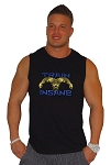 Style325MB Solid Black Sleeveless Tee With Versa Blue Train Insane