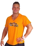 New Style 680V  Orange, summer cool, light weight,  Relaxed Fit  V-Neck With Sonic Blue Versa Crazee Wear Logo