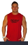 Style325MB Solid Red Sleeveless Tee With Beast Mode in black