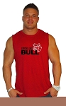 Style325MB Solid Red Sleeveless Tee With Strong Like  Bull