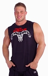 Style325MB Sleeveless Tee (Black with Red Train Insane-White Superhero)