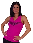 Style 340 Pink Stretch Rib Racerback Tank Top With Athena #24 Design in Black