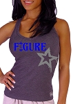 Style 340 Charcoal Stretch Rib Racerback Tank Top With Blue Figure Grey Star Graphics