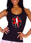 Style 340 Charcoal Stretch Rib Racer back Tank Top With Bikini Graphic Emblem