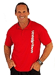 Polo Red with silver tribal/wht czw on front and bodybuilding on back