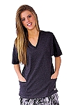 Style WST890 Womens Charcoal Grey V-Neck Top