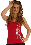 315 Red Tank Top with zebra crazeewear and tribal in silver