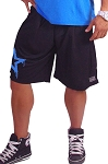 Style 600MS Micro blend black training shorts with Neon Blue Physique Star