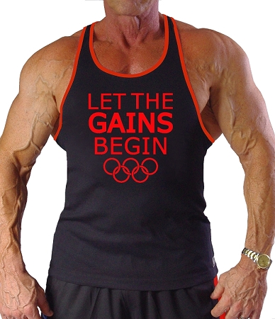 Crazee Wear 312RC Black Rib Stretch Fitted Tank Tops With Red Ribbing With Let The Gains Begin In Red