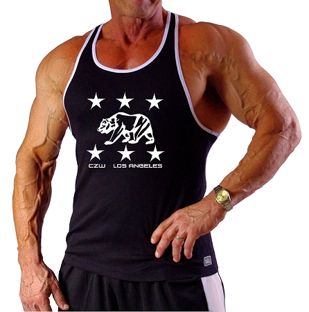 312RC  Black Tank Top With White Trim With Los Angeles Bears Design
