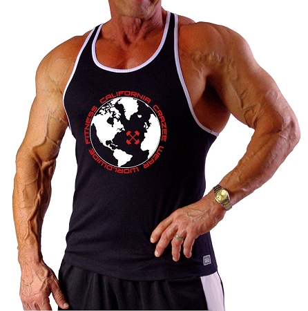 312RC  Black Tank Top With White Trim With World Wide Fitness