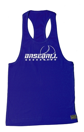 312R  Blue Tank Top With Baseball Graphics in White
