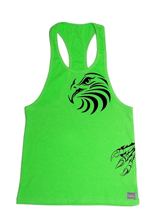 312R  Neon Green With Black Trim Tank Top with Black Eagle Design