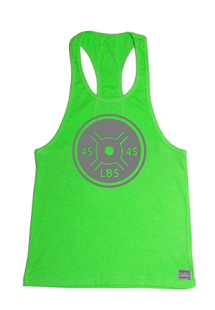 Crazee Wear 312R Neon Green Rib Stretch Fitted Tank Tops With 45LB. Barbell Plate In Grey