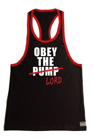 Crazee Wear 312RC Black Rib Stretch Fitted Tank Tops With Red Ribbing With Obey The Lord