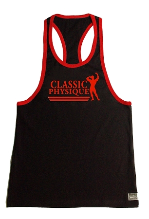 Crazee Wear 312RC Black Rib Stretch Fitted Tank Tops With Red Ribbing With Classic Physique In Red