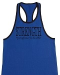 Crazee Wear 312RC Blue Rib Stretch Fitted Tank Top With Black Trim With Black My Strength Comes From The Lord