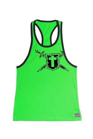 312R  Neon Green With Black Trim Tank Top with Crusade Design In Black