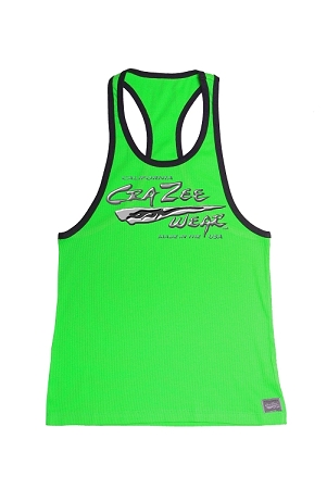 Crazee Wear 312RC Neon Green/Black Stretch Fitted Tank Top With Versa Liquid Silver Crazee Wear Design