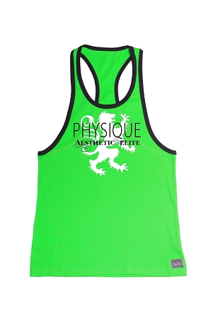 312R  Neon Green With Black Trim Tank Top with Physique Aesthetic Elite Graphics