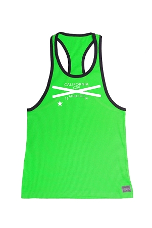 312R  Neon Green With Black Trim Tank Top  With CZW Athletics 1987 In White