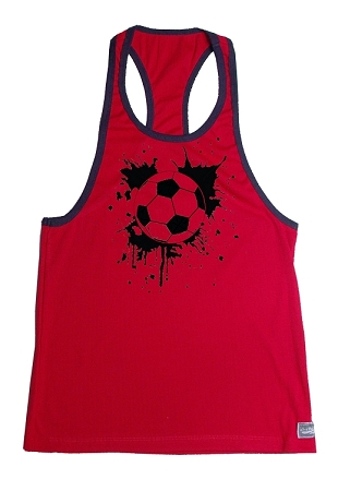 Crazee Wear 312RC Red Rib Stretch Fitted Tank Tops With Black Ribbing Black Soccer Graphic